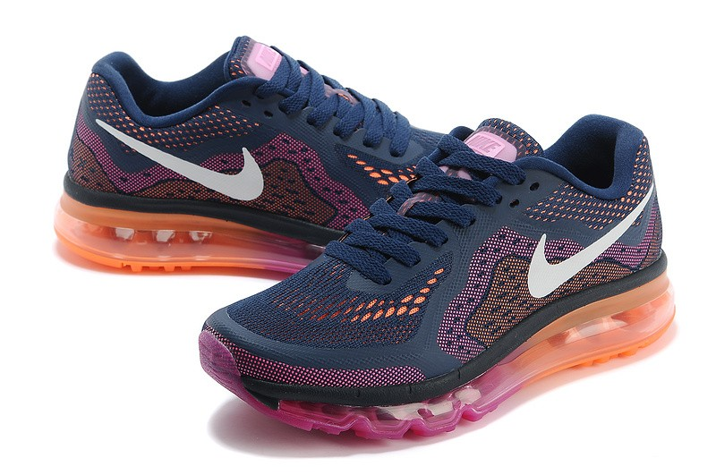 2015 Dark Blue Orange Pink - Air Cushion Nike Air Max Running Shoes Women YA718603