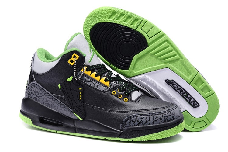 Nike Air Jordan 3 Mens Black/Green 0467 RF784653